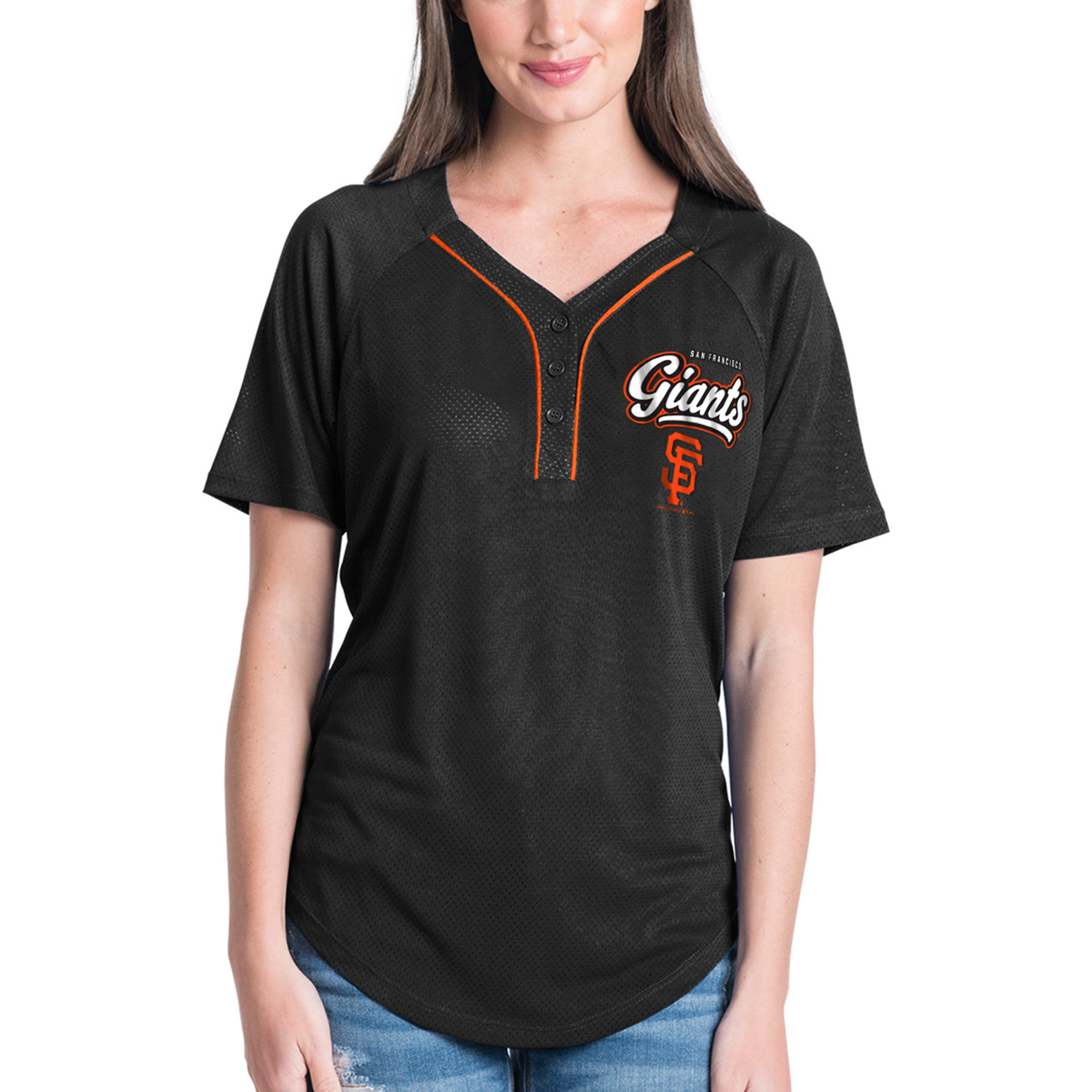 Women's New Era Black San Francisco Giants Henley Mesh Jersey T-Shirt