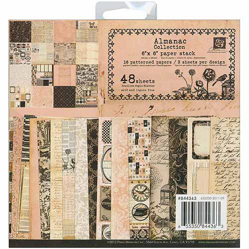 "Almanac Paper Stack, 6"" x 6"", 48 Sheets, 16 Designs/3 Each"