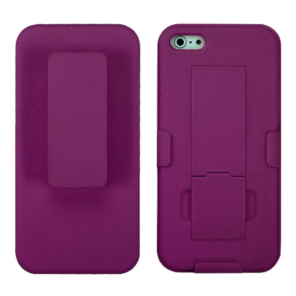 Insten Rubberized Hot Pink Hybrid Hard Shockproof Holster Case (with Stand) (with Package) For iPhone SE 5 - image 3 de 3