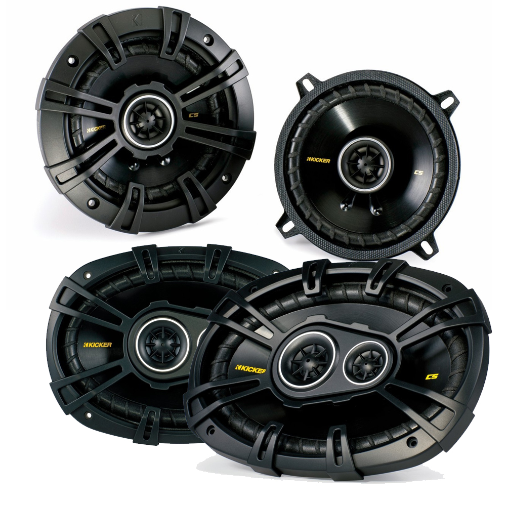 "Kicker for Dodge Ram Truck 1994-2011 speaker bundle - CS 6x9"" coaxial speakers, and CS 5.25"" coaxial speakers."