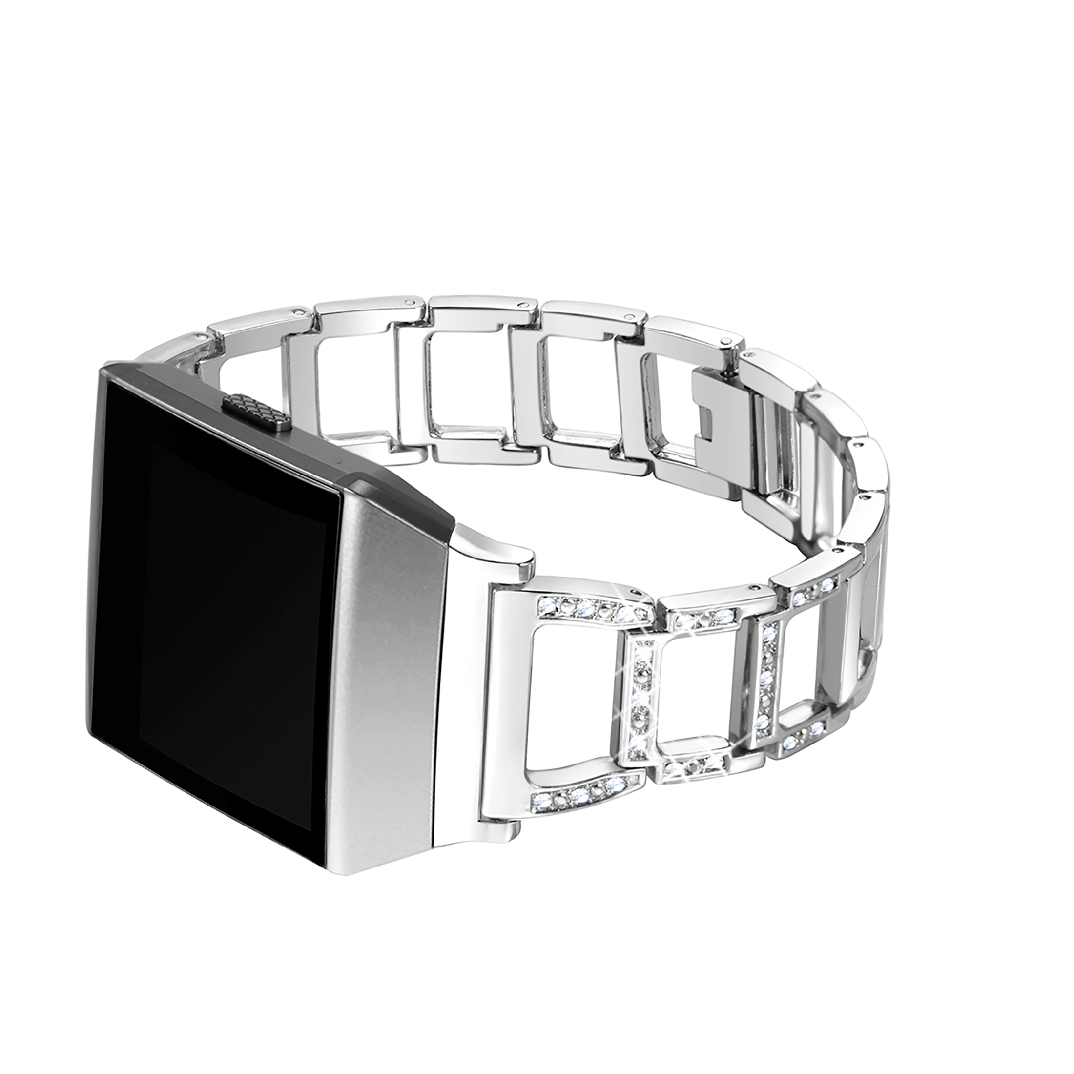 For Fitbit Ionic, bayite Replacement Metal Bracelet Adjustable Fitbit Ionic Bands Silver with Rhinestone