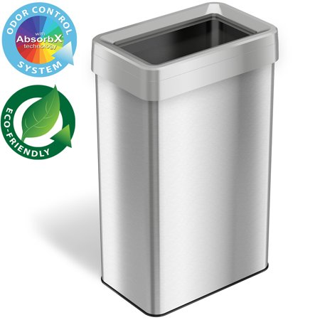 iTouchless 21 Gallon Commercial Grade Stainless Steel Dual-Deodorizer Open Top Rectangular Trash Can Gallon Commercial Trash Can