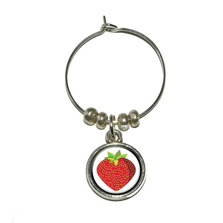 Frit Glass - Strawberry Fruit Wine Glass Charm