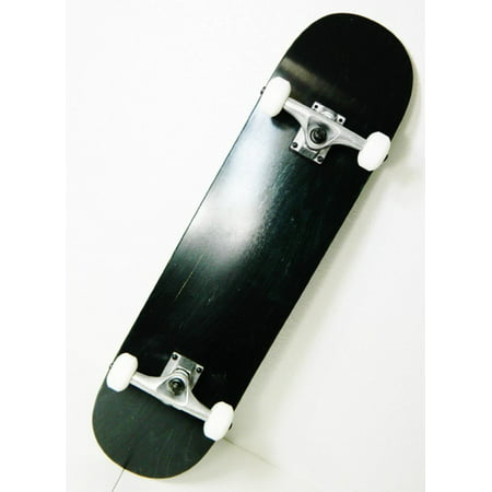 Black 7.75 Skateboard Complete 7ply Maple Deck 5.0 Raw Truck 52mm Wheels ()