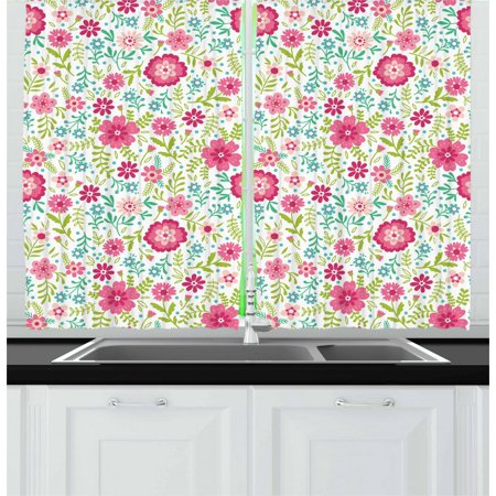 Spring Curtains 2 Panels Set, Blossoming Field with Fern Branches Leaves and Flowers Ornamental, Window Drapes for Living Room Bedroom, 55W X 39L Inches, Pink Lime Green Turquoise, by Ambesonne ()