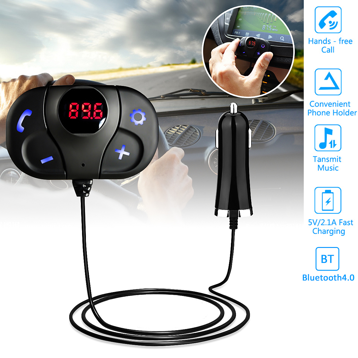 Bluetooth Car MP3 Player Wireless USB FM Transmitter Handsfree Radio Adapter Modulator with LED Display