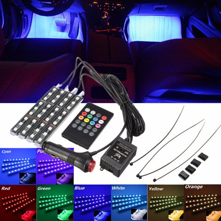 Music Activated Led (4IN1 Music Control Car Interior Light 7 Color 36 LED Floor Decorative Atmosphere Neon Light Kit with Sounds-activated & Wireless)