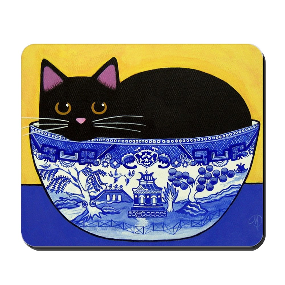 CafePress - Black CAT In Blue Willow Bowl - Non-slip Rubber Mousepad, Gaming Mouse Pad