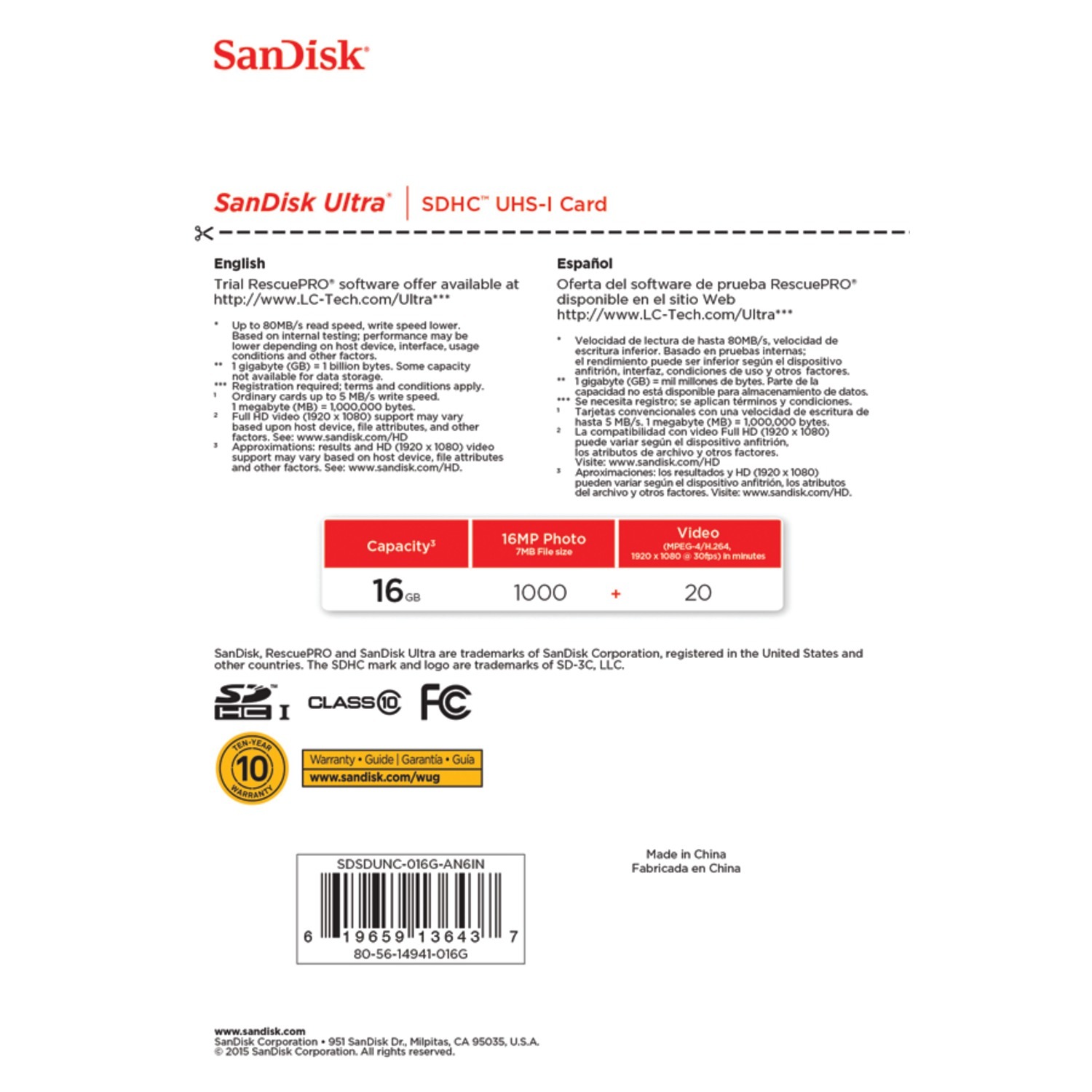 Sandisk 16gb Class 10 Sdhc Uhs I Up To 80mb S Memory Card Ultra Sdsdunc