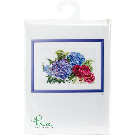 """Hydrangea & Rose On Aida Counted Cross Stitch Kit-18""""X11.75"""" 16 Count - image 1 of 3"""