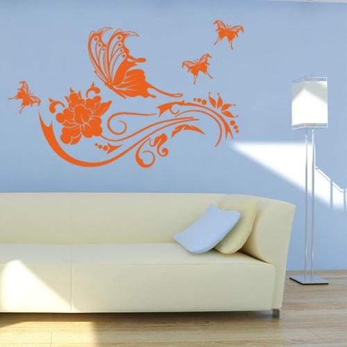 Butterfly Vine Floral Wall Decal 71in x 44in Dark Green