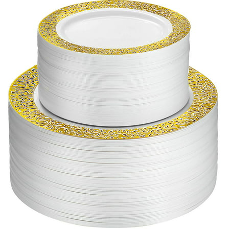 100 Piece Plastic Party Plates White With Gold Lace Design 50