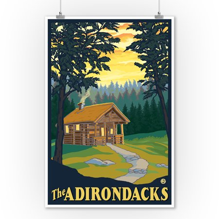 The Adirondacks - Cabin in the Woods - Lantern Press Original Poster (9x12 Art Print, Wall Decor Travel Poster) - Painting Cabin In The Woods