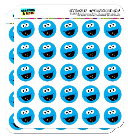 Sesame Street Cookie Monster Face Planner Calendar Scrapbooking Crafting Stickers