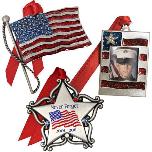 Personalized Gloria Duchin Patriotic Christmas Ornament 3-Piece Set