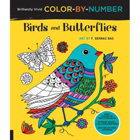 Brilliantly Vivid Color-by-Number: Birds and Butterflies : Guided coloring for creative relaxation--30 original designs + 4 full-color bonus prints--Easy tear-out pages for