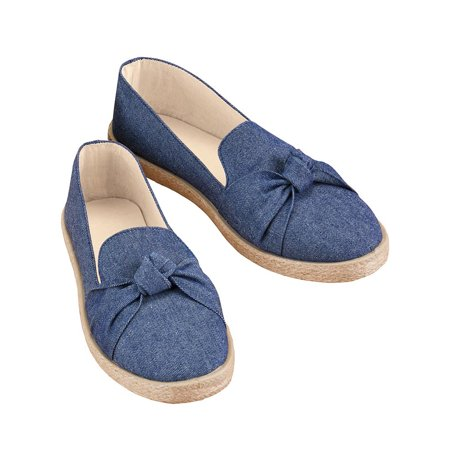 Knot Front Rope Trim Slip-On Shoes with Comfortable Padded Insoles, Cute and Casual Style, 7, Denim