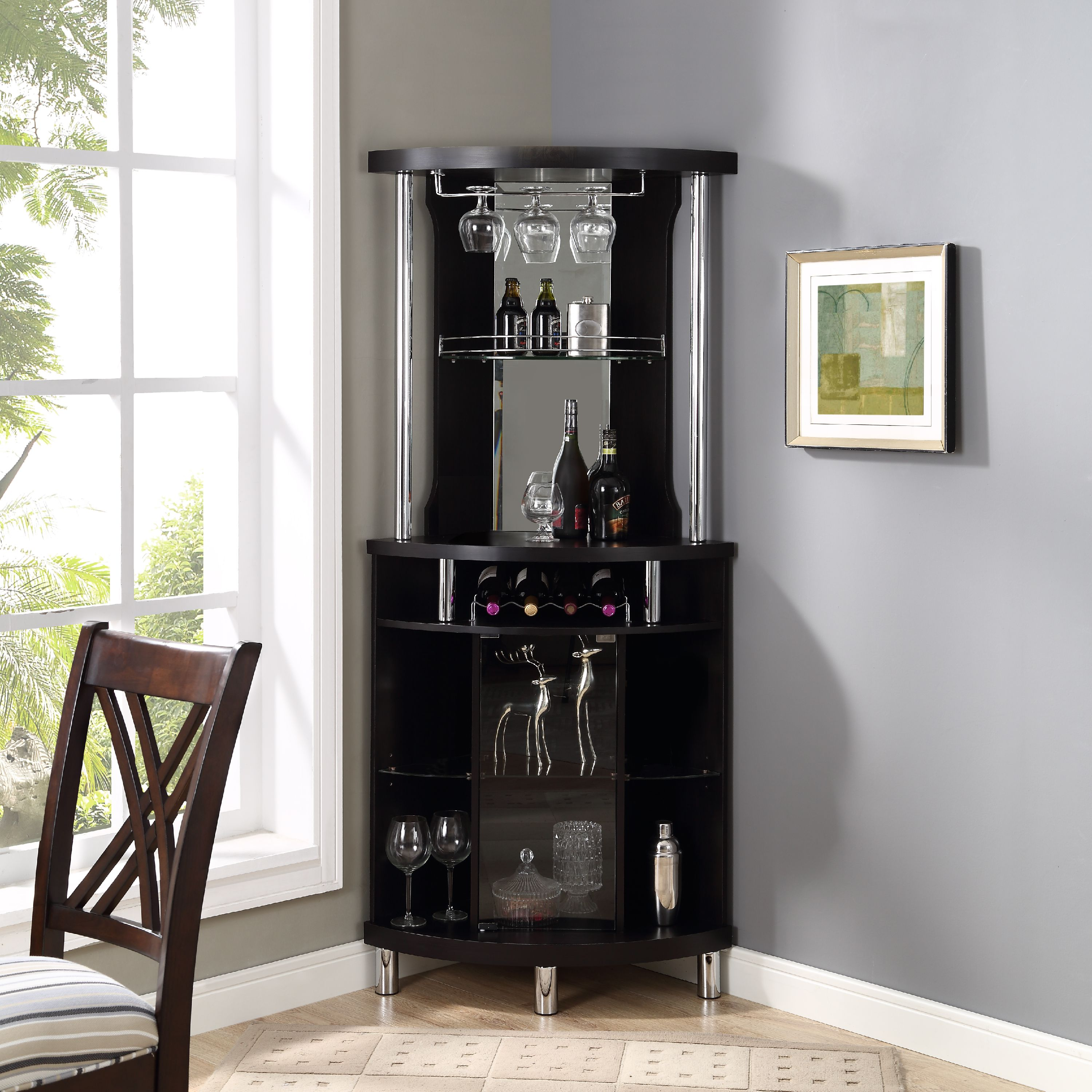 Home Source Corner Bar Unit Walmart Com