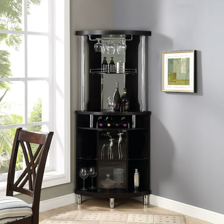 Home Source Corner Bar Unit, Black ()