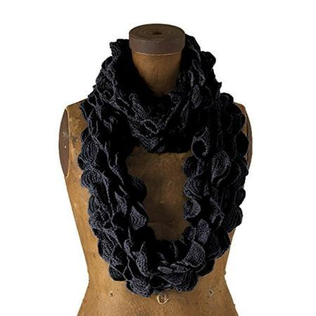 Ruffled Scarf - Chic Ruffle Knit Infinity Loop Scarf - Black