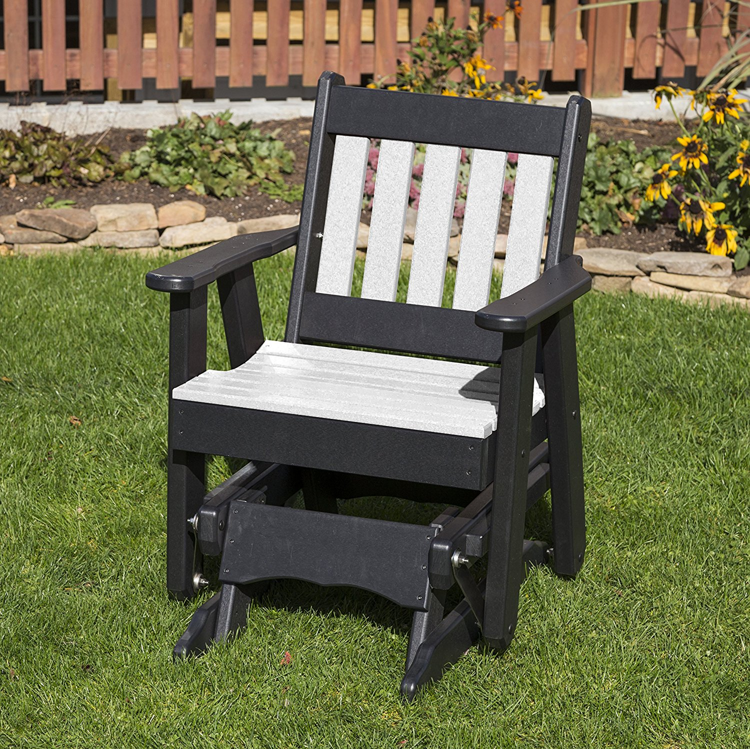 Outdoor Patio Garden Lawn Exterior Bright White Finish Poly Lumber Mission 2 Ft Glider Everlasting - Amish Crafted