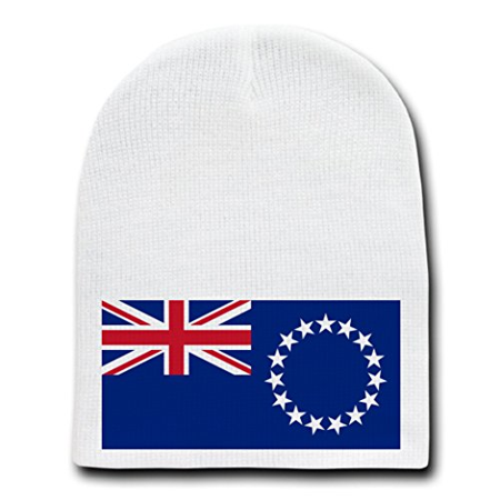 Cook Hats (Cook Island - World Country National Flags - White Beanie Skull Cap)