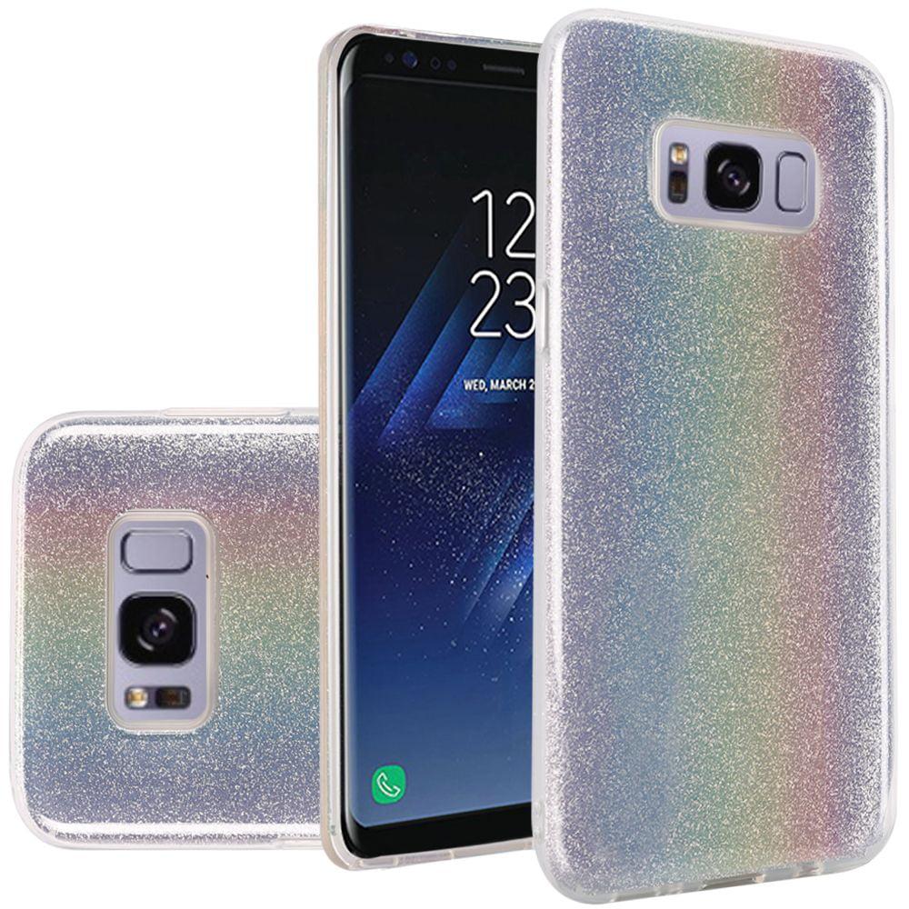 Samsung Galaxy S8+, S8 Plus Case - Wydan Slim Hybrid TPU Glitter Shock Resistant Skin Phone Cover Rainbow