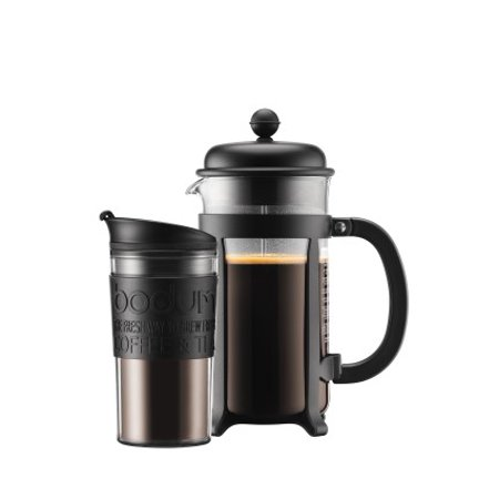 Bodum JAVA SET French Press Coffee Maker, 8 cup, 1.0L, 34oz and Travel Mug, 12oz - Photo Travel Mugs