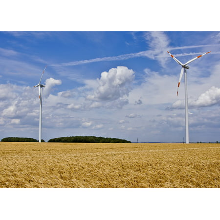 Framed Art for Your Wall Landscape Windr?der Fields Wind Energy Sky Clouds 10x13 (Multi Purpose Frame)