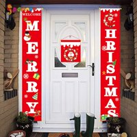 Spencer Merry Christmas Banners, Front Door Welcome Christmas Red Porch Sign Hanging Banner Xmas Decorations for Wall Door Curtain Home Party