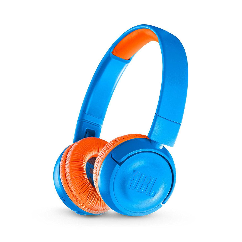 JBLJR300BTUNO JBL JR 300BT Kids On-Ear Wireless Headphones with Safe Sound Technology (Blue/Orange)