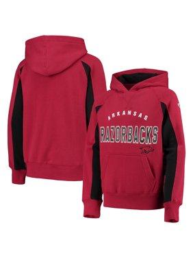 Arkansas Razorbacks Hands High Girls Youth Pullover Hoodie - Cardinal/Black
