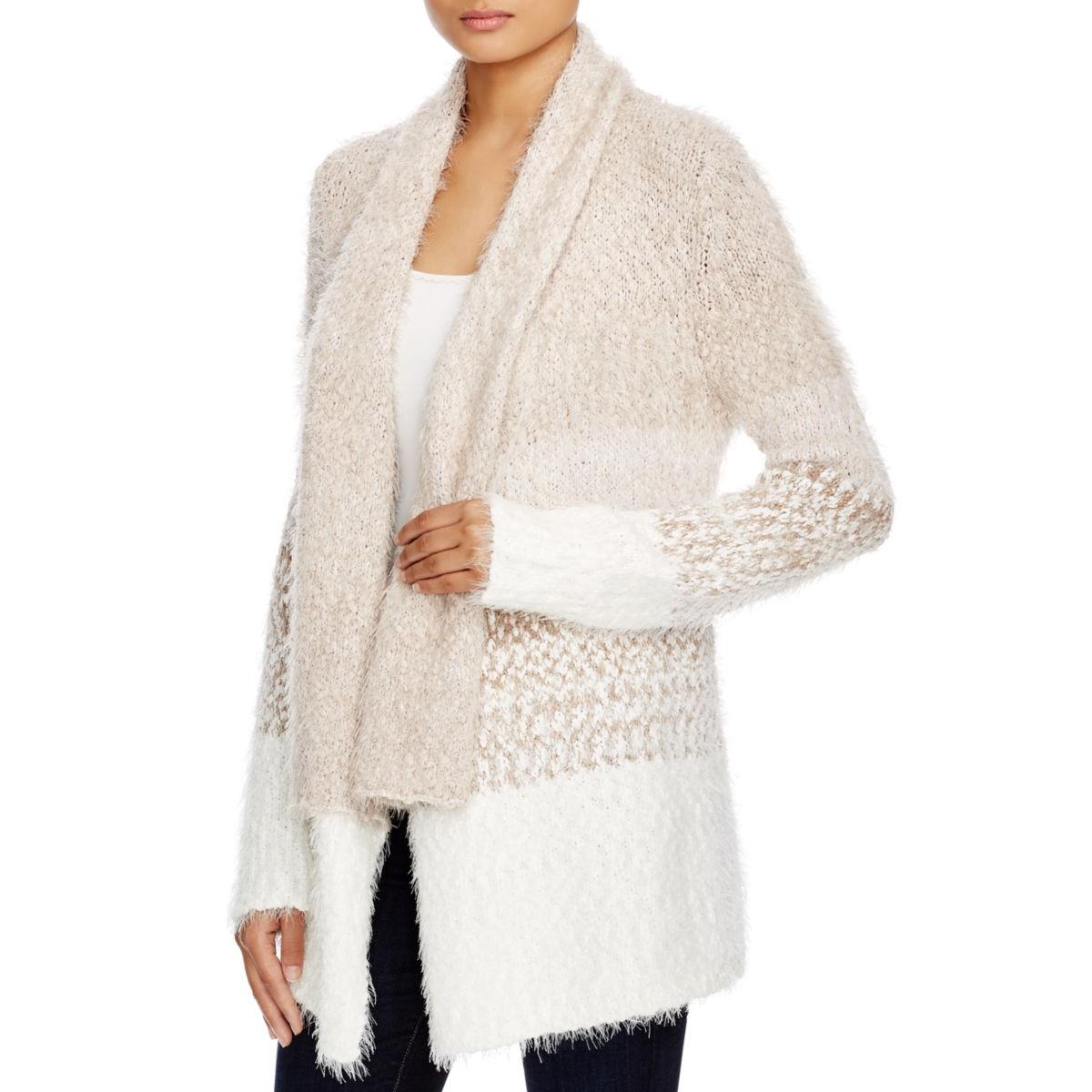Cupio Womens Open Front Colorblock Cardigan Sweater