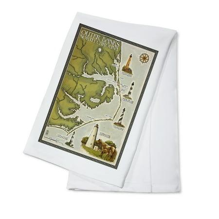 Outer Banks, North Carolina - Lighthouse & Town Map - Lantern Press Artwork (100% Cotton Kitchen