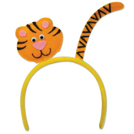 Club Pack of 12 Yellow and Orange Cute Tiger Headband Costume