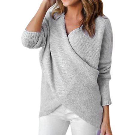 7a3a4e1f8 Himone - Women Winter Casual Jumper V Neck Long Sleeve Pullover Tops Knitted  Sweater Cross V Neck - Walmart.com