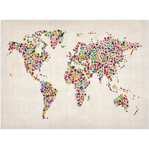 Trademark Art 'Stars World Map 2' Canvas Art by Michael Tompsett