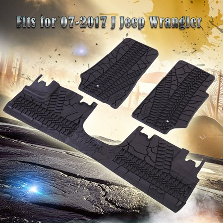 For 2007-2017 Jeep Wrangler 4 Door Unlimited Slush Mats Front and Rear mats Set of 3 Floor Mat - 04 Jeep Wrangler Floor Mats