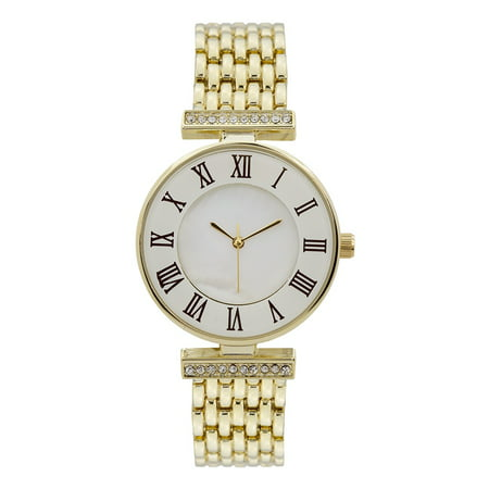 Gold Tone Womens Watch Roman Number Hour Mark Lab Created Cubic Zirconias Luxury Style -