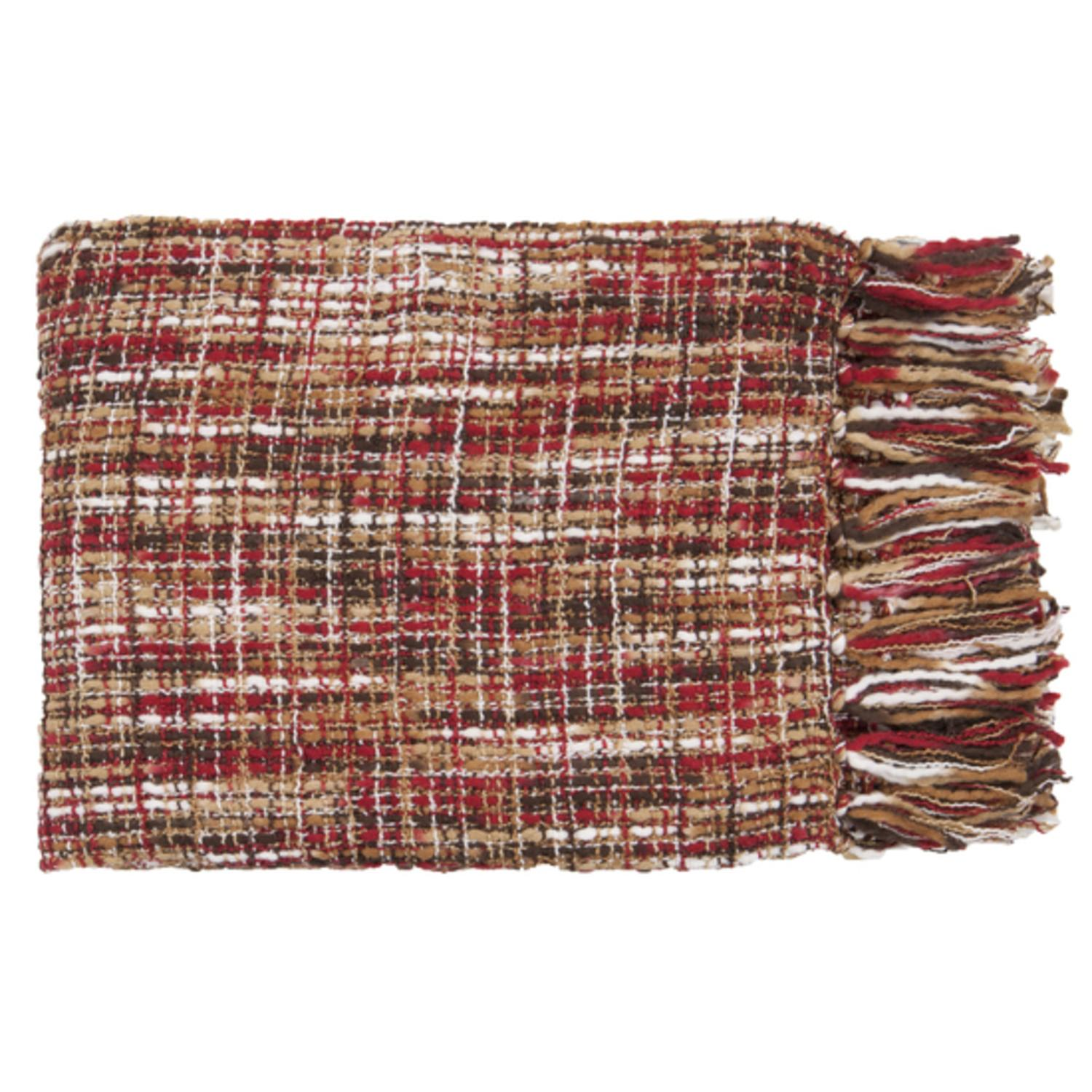 """50"""" x 60"""" Golden Sunset Red and Tan Throw Blanket"""