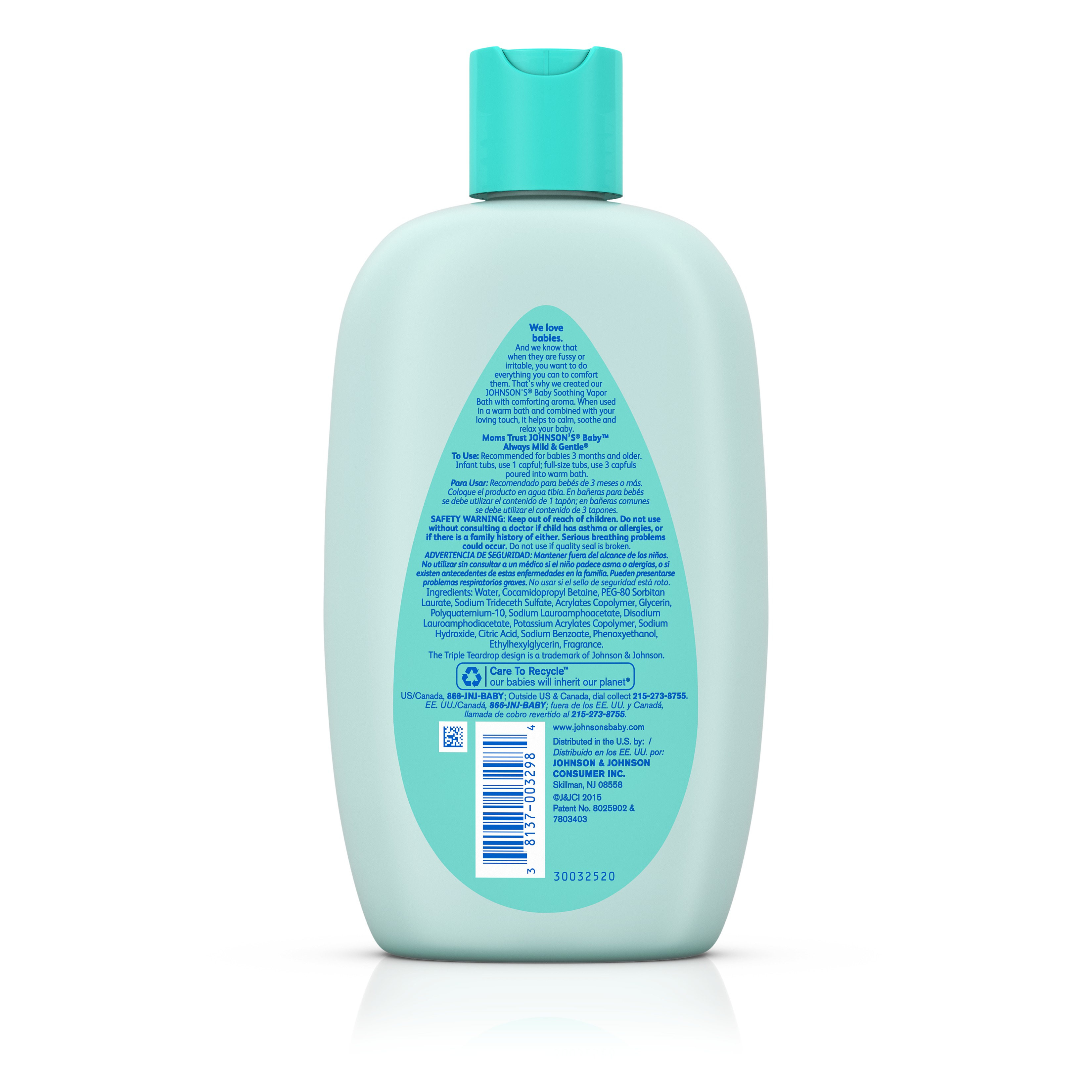 Johnson's Soothing Vapor Bath, 15 fl oz and Johnson's Bubble Bath & Wash, 28 fl oz - Walmart.com