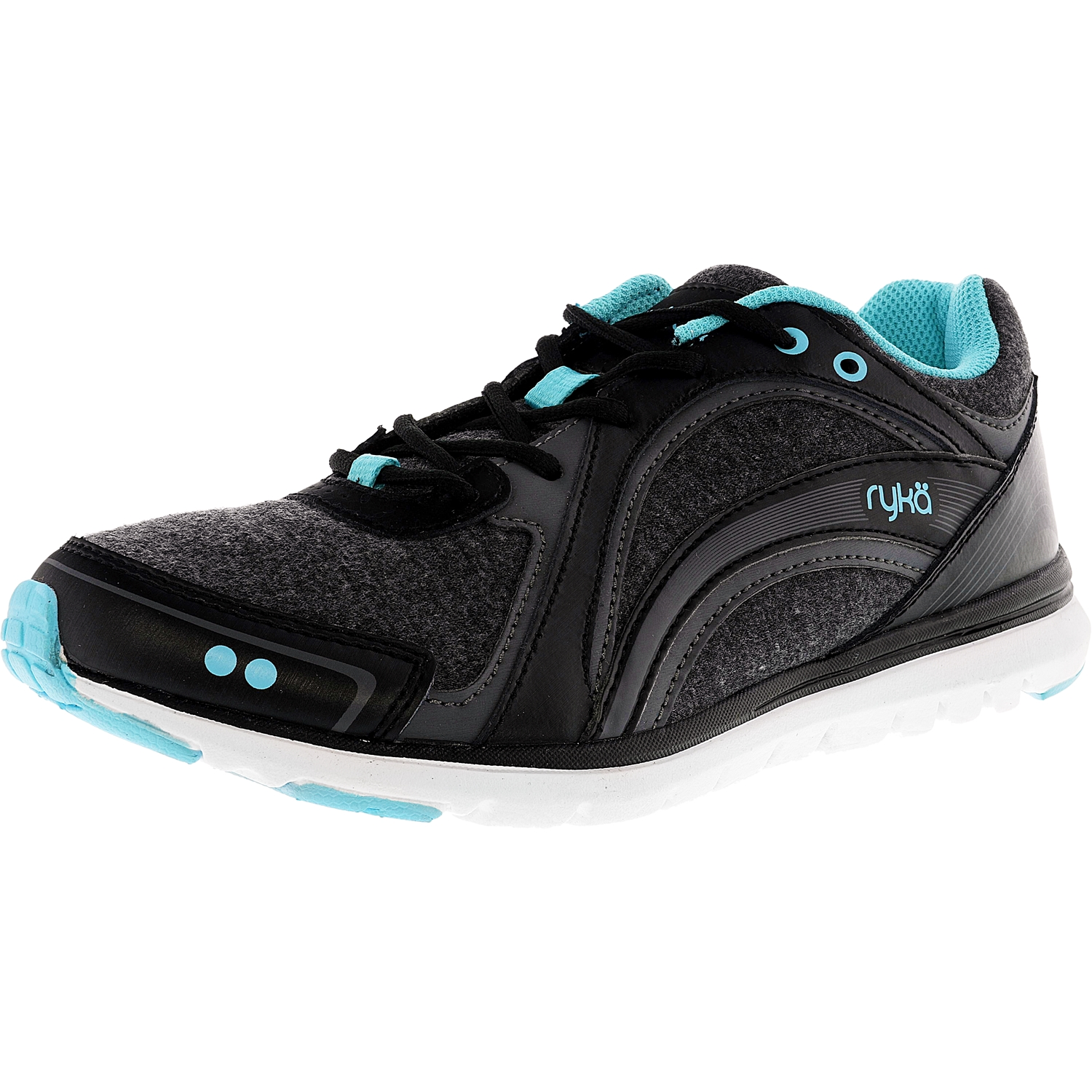 Ryka Women's Aries Black / Grey Blue Fashion Sneaker - 6.5M