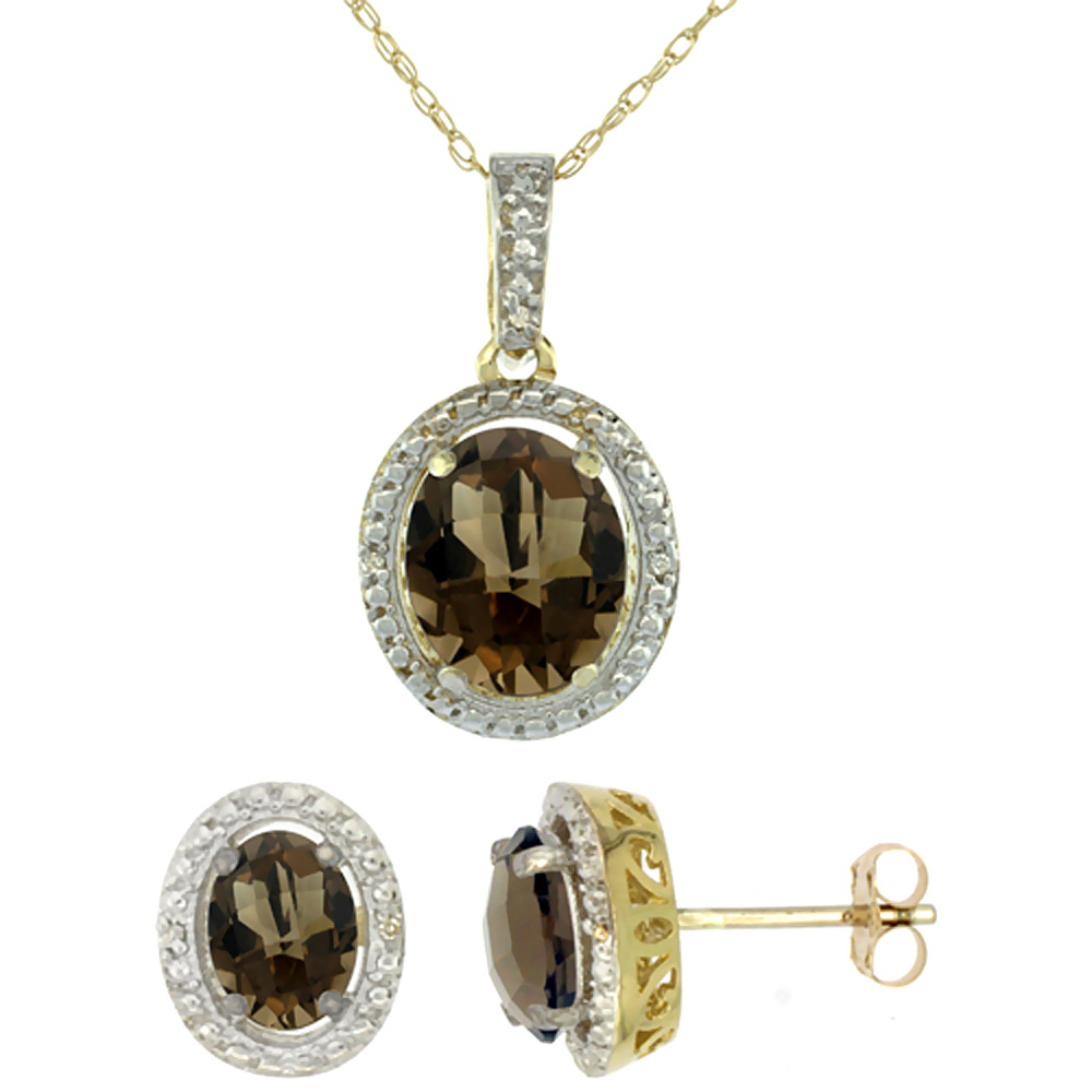 10K Yellow Gold Natural Oval Smoky Topaz Earrings & Pendant Set Diamond Accents by WorldJewels