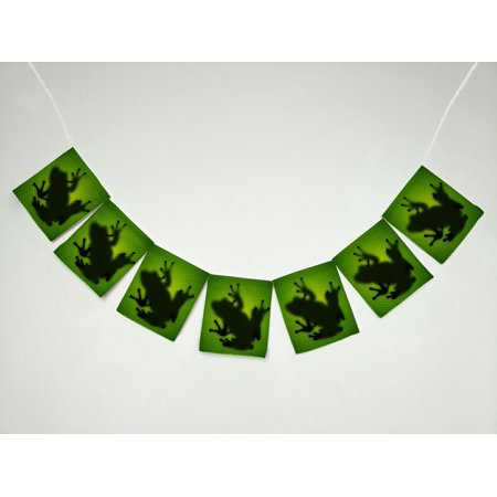 YKCG Frog Shadow Silhouette on the Banana Tree Leaf Banner Bunting Garland Flag Sign for Home Family Party Decoration (Banner On The Cheap)