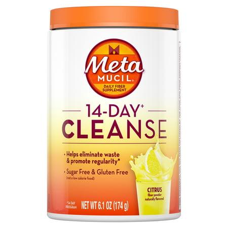 Metamucil 14-Day Cleanse, Psyllium Fiber Powder, Citrus Flavored, 30 servings