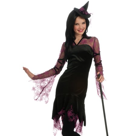 Spider Girl Costume Teen (Rubies Teen Girls Pink Spider Witch Halloween Costume)