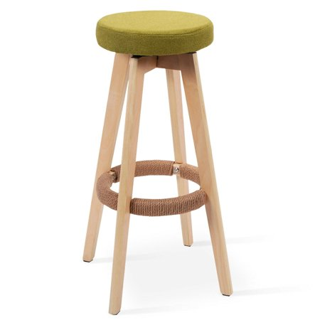 Round Bar Stools (29-Inch Swivel Bentwood Barstool Round Seat Dining Chair Kitchen Pub w/Footrest )