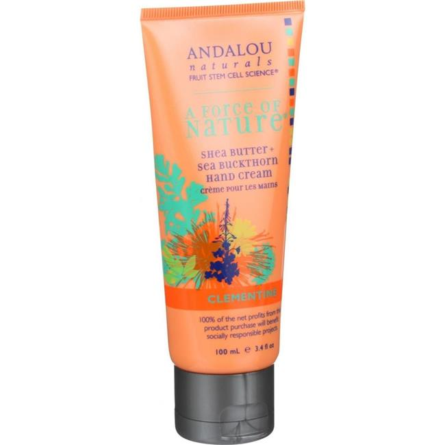 Andalou Naturals HG1548528 3.4 oz A Force Of Nature Shea Butter Plus Sea Buckthorn Hand Cream, Clementine