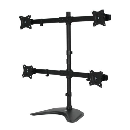 Quad Lcd Monitor Stand - NavePoint Quad LCD Curved Monitor Mount Stand Free Standing With Adjustable Tilt Holds 4 Monitors Up To 27-Inches Black