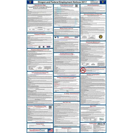 2017 Oregon State And Federal Labor Law Poster  Laminated